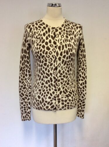MONSOON BROWN & CREAM ANIMAL PRINT SCOOP NECK CARDIGAN SIZE 12