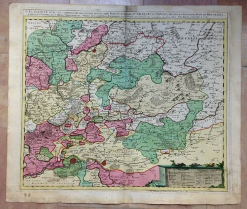 GERMANY WETTERAU (HESSE) JACOB STETTER 1710 18e CENT LARGE ANTIQUE ENGRAVED MAP