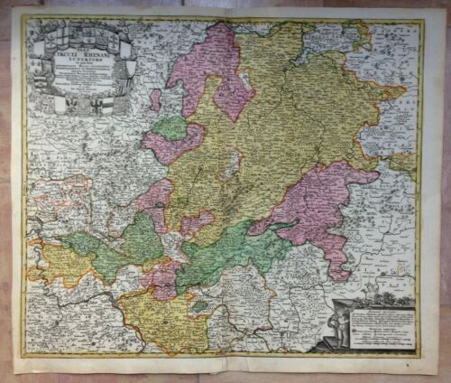GERMANY UPPER RHINE JB HOMANN 1710 LARGE NICE ANTIQUE ENGRAVED MAP 18e CENTURY