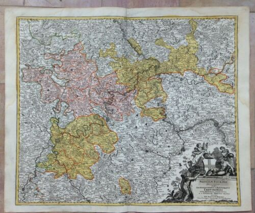 GERMANY TREVES JB HOMANN 1720 NICE LARGE ANTIQUE ENGRAVED MAP 18TH CENTURY