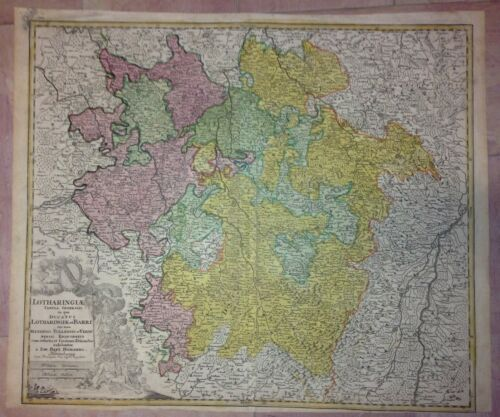 LORRAINE FRANCE by JB HOMANN 1720 18e CENTURY LARGE NICE ANTIQUE ENGRAVED MAP