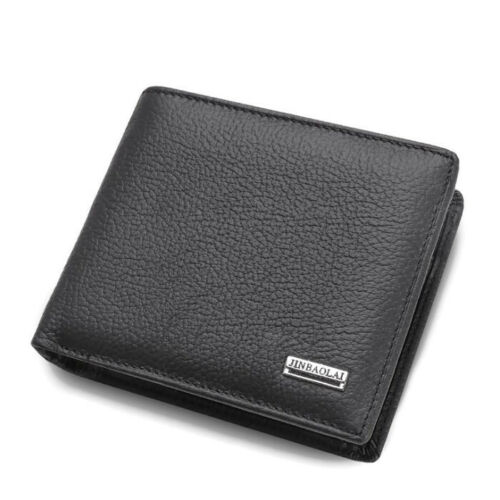 Mens Wallet Black Bi Fold with Top Layer Cowhide Leather Card Slots Coin Pocket