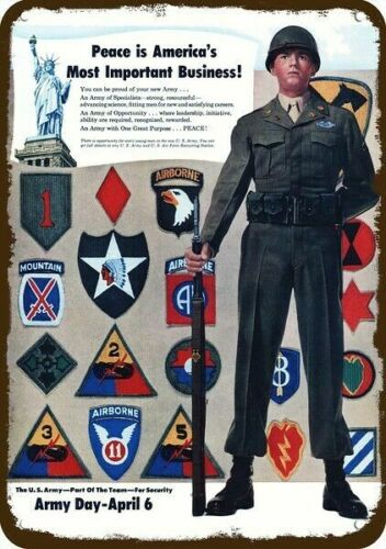 1949 U.S. ARMY INSIGNIA'S Vintage Look REPLICA METAL SIGN - MILITARY POLICE - MPOther Militaria - 135