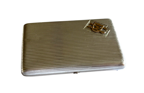 Imperial Russian Silver Cigarette Case With 10k Gold Application Circa 19th Cen.