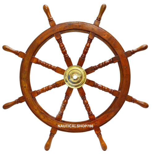 """36"""" Antique Large Nautical Handcrafted Wooden Ship Wheel Home office Wall Decor"""