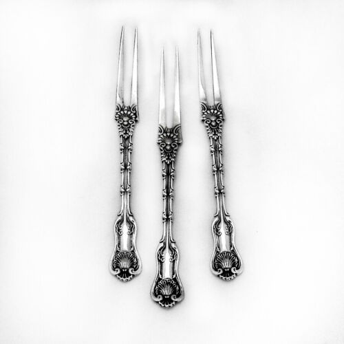 Imperial Queen Strawberry Forks 3 Sterling Silver Whiting 1895