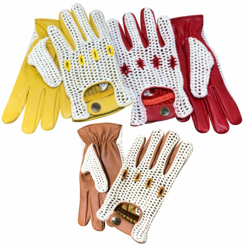 ad9359330 Classic English Vintage Leather Driving Fashion Gloves Crochet String Back  505