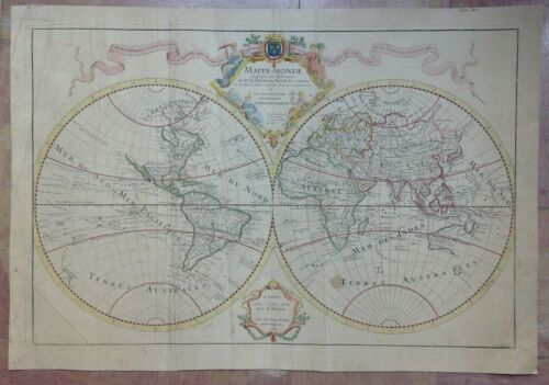WORLDMAP 1700 GUILLAUME DE L'ISLE 17e CENTURY UNUSUAL LARGE ANTIQUE ENGRAVED MAP