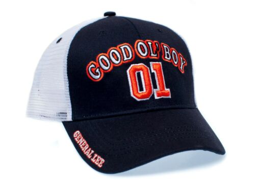 01 General Lee Truckers Hat Good Ol' Boy Cap Unisex Adult Black/White