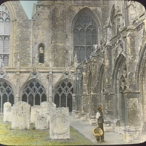 Vtg Magic Lantern Glass Slide Photo Underwood Cloisters Of Canterbury Cathedral