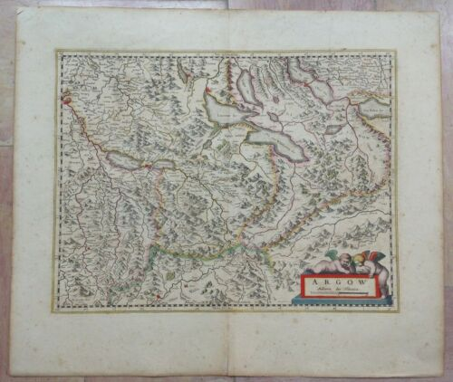 SWISS AARGAU 1639 GERARD MERCATOR/JODOCUS HONDIUS LARGE ANTIQUE ENGRAVED MAP