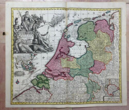 BELGIUM HOLLAND by MATHEUS SEUTTER 1730 UNUSUAL LARGE ANTIQUE MAP 18TH CENTURY