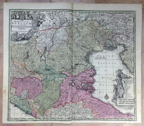 ITALY GULF OF VENISE by MATHEUS SEUTTER 1730 UNUSUAL LARGE ANTIQUE MAP
