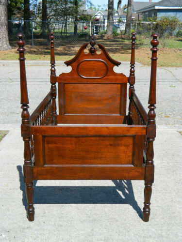 Mahogany Sheraton Style Youth Bed with Bonnet Top circa 1900