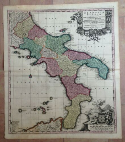 ITALY KINGDOM OF NAPOLI 1730 by MATHEUS SEUTTER LARGE ANTIQUE MAP 18TH CENTURY