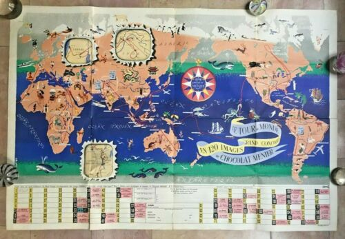 WORLD MAP by JANNOT (JAN-LOUP) 1956 ANTIQUE LARGE PICTURIAL MAP
