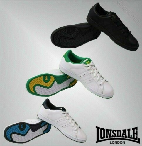 Mens Lonsdale Full Laced Front Padded Leyton Leather Trainers Sizes from 7 to 15