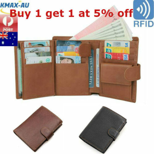 RFID Blocking Genuine Leather Mens Wallet Trifold Purse Coin Card Large ID