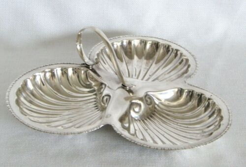 Antique Silver Divided Shell Handled Serving Tray Dish - England