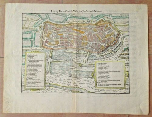 XVIe SIECLE 1575 NEVERS (FRANCE) BELLEFOREST/MUNSTER LARGE ANTIQUE CARTE GRAVEE