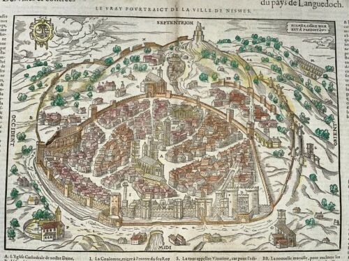 NIMES FRANCE 1575 BELLEFOREST/MUNSTER LARGE ANTIQUE VIEW 16TH CENTURY