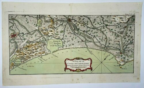 FRANCE COASTS OF LANGUEDOC NICOLAS BELLIN 1760 18e CENT LARGE ENGRAVED SEA CHART