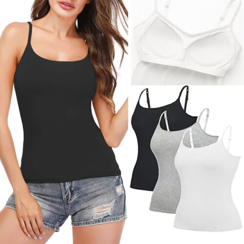 AU Women Adjustable Strap Camisole with Built in Padded Bra Vest Sleeveless Sexy