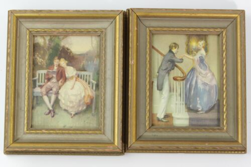 """VINTAGE COLONIAL ROMANTIC SCENES ART PRINTS IN GLASS FACE ORNATE WOOD FRAMES 7"""""""