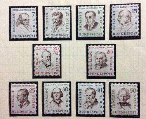 Stamps BERLIN WEST GERMANY.1957 PERSONALITIES.MiNr#163/172.MLH OG FINE.#AB80/110