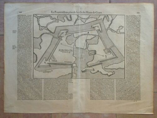 XVIe SIECLE 1575 LE HAVRE NORMANDY BELLEFOREST/MUNSTER ANTIQUE GRAND PLAN GRAVE