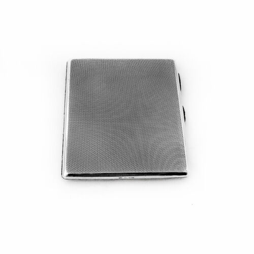 English Engine Turned Cigarette Case Mappin Webb Sterling Silver