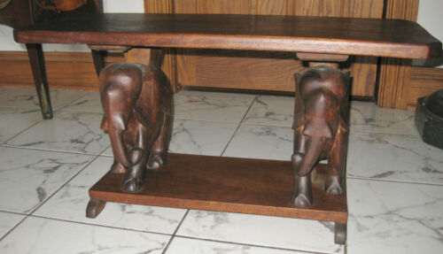 ANTIQUE UNUSUAL SOLID WOOD ELEPHANT BENCH