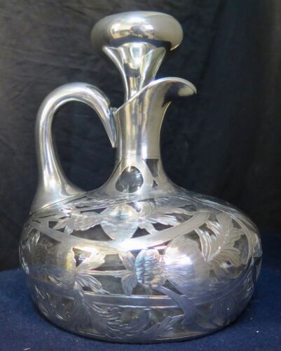 Vintage Early 20th Century Black, Starr & Frost Sterling Silver Overlay Decanter