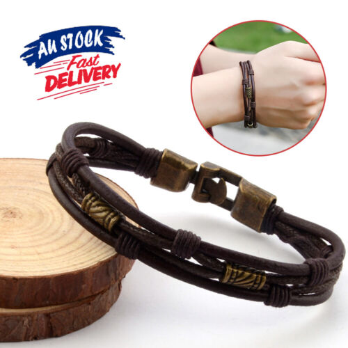Mens Wristband Braided Rope Brown Bronze Leather Bracelet Surfer Buckle Wrap