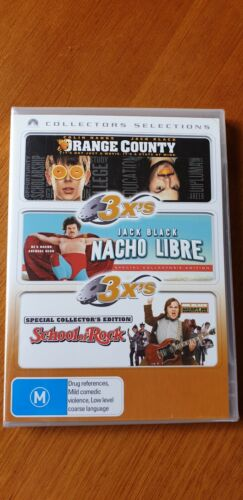 NEW and SEALED Jack Black 3 x DVD pack-NACHO LIBRE-SCHOOL OF ROCK-.ORANGE COUNTY