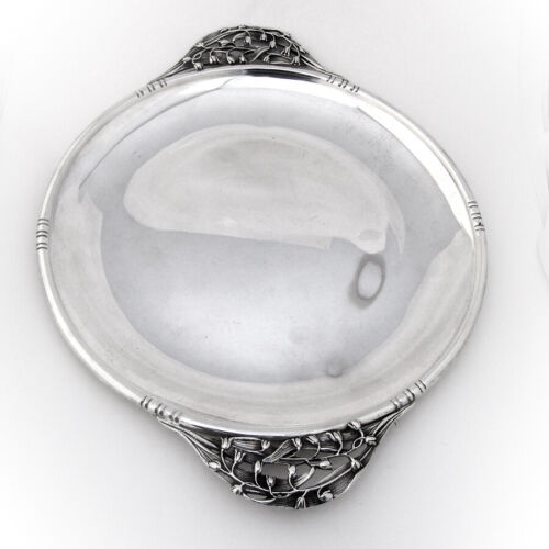 William DeMatteo Sandwich Tray Figural Lily Handles Sterling Silver