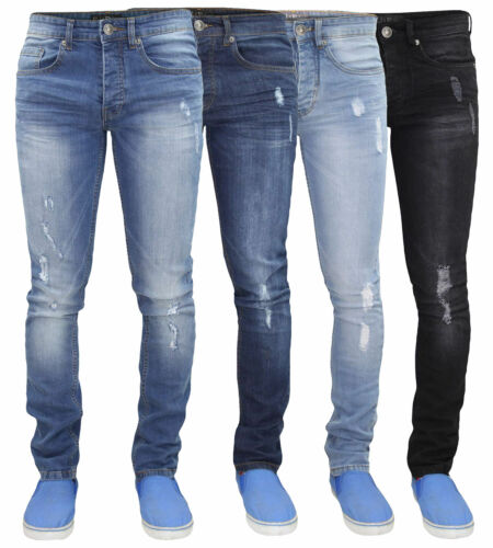 Mens Ripped Skinny Jeans Super Stretch Denim Pants Trousers Waist Sizes 28-40