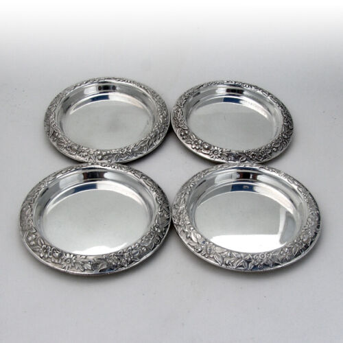 Repousse Coasters Set Kirk And Son Sterling Silver