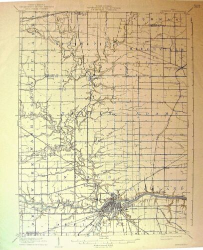 USGS 15' Topographic Map Defiance, OH 1909 edition