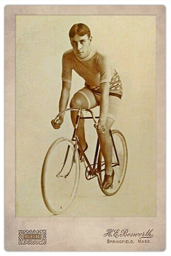 FAMOUS Early Bicycle Racer Restored 2-sided CABINET CARD Deluxe Reproduction