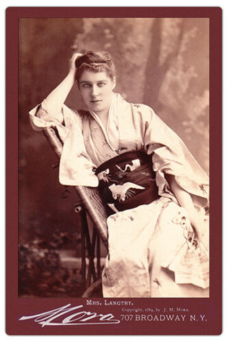 LILLIE LANGTRY By Mora 1884 Vintage Cabinet Card Photo Restoration Reproduction