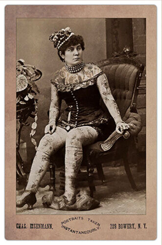 TATTOOED WOMAN By Eisenmann Vintage Cabinet Card Photo Restoration Reproduction