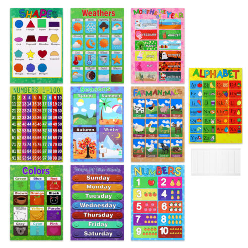 10PCS Educational Posters Creative Learning Funny Charts Teaching Tools for Kids
