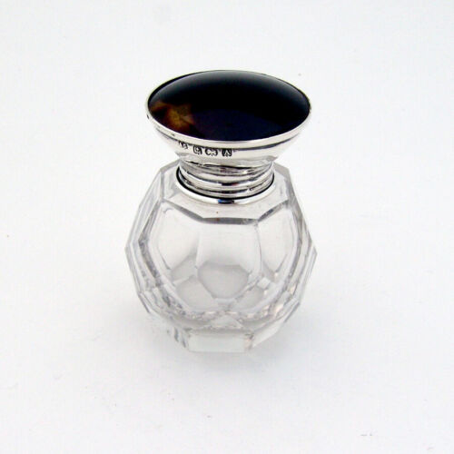 English Scent Bottle Cut Glass Synthetic Inset Sterling Silver 1900