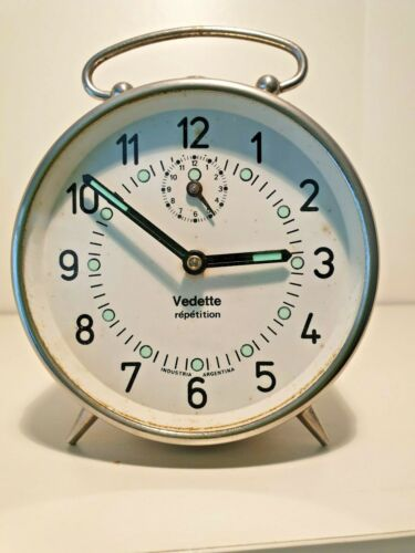 Beautiful Argentinian Vintage nickel plated Alarm Clock from Verdette
