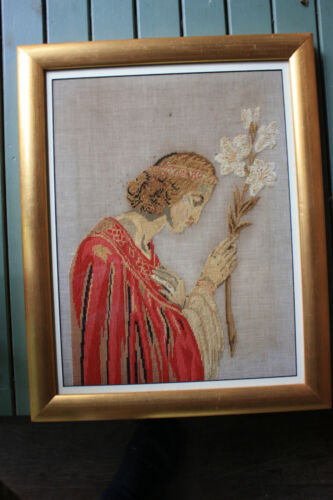 Antique religious silk and wool tapestry of Angel Gabriel.
