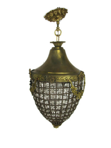 Ornate Beaded Prisms Chandelier Pendant French Empire Style Brass Guirlandes