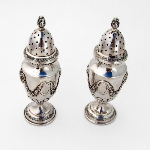 French Floral Ram Head Salt Pepper Shakers Set Sterling Silver 1900