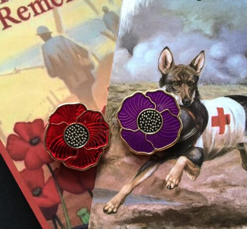 Purple Poppy Lapel Pin & Red Poppy Lapel Pin *Remembrance Day. Set Of 2 PinsOther Eras, Wars - 135