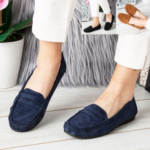 Ladies Loafers Shoes Womens Flats Pumps Slip On Comfy Work Office School Size